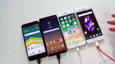 iPhone 8 P对比三星Note 8、一加5和HTC U11快充